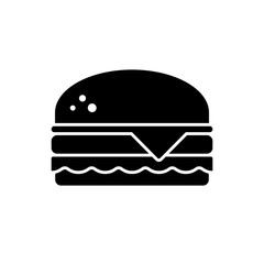 Burger icon. Black, minimalist icon isolated on white background. Hamburger simple silhouette. Web site page and mobile app design vector element.