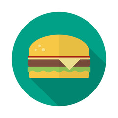 Burger circle icon with long shadow. Flat design style. Hamburger simple silhouette. Modern, minimalist, round icon in stylish colors. Web site page and mobile app design vector element.