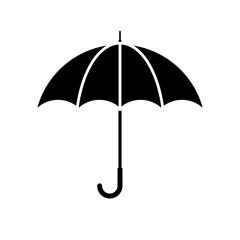 Umbrella icon. Black, minimalist icon isolated on white background. Umbrella simple silhouette. Web site page and mobile app design vector element.