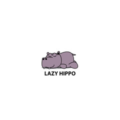 Lazy hippo, Hippopotamus sleeping icon, logo design, vector illustration