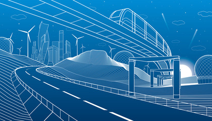Monorail in mountains. City highway. Transportation illustration. Tower and skyscrapers, modern town, business buildings. Night scene. White lines on blue background. Vector design art