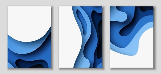 Vertical A4 flyers with 3D abstract background with paper cut blue waves. Vector design layout