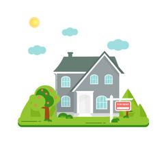 Banner for sales, advertising house, cottage with trees.