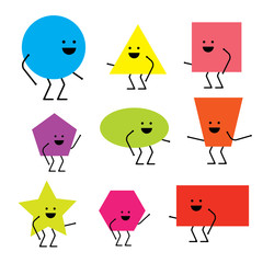 Cartoon Geometric Funny Characters for Children Education. Learning set. Isolated background.