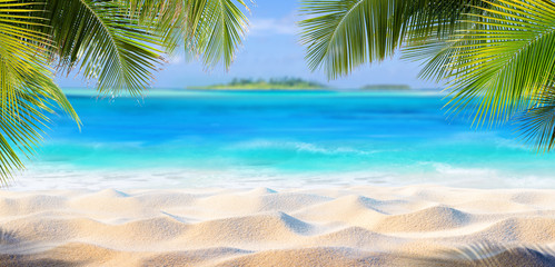 Wall Mural - Tropical Sand With Palm Leaves And Paradise Island