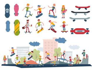 Skateboarder active people park sport extreme outdoor active skateboarding urban jumping tricks vector illustration.