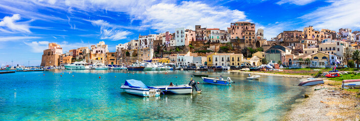 Photo on textile frame European Famous Place Castellammare del Golfo - beautiful coastal town in Sicily. Italy