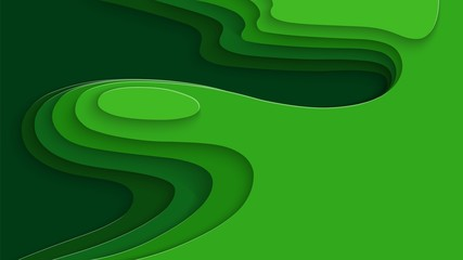 Paper cut design with 3D abstract background for labels, flyers, tickets, posters, presentations, invitations. Shades of green for ecology design and environment. Colorful carving art. Vector.