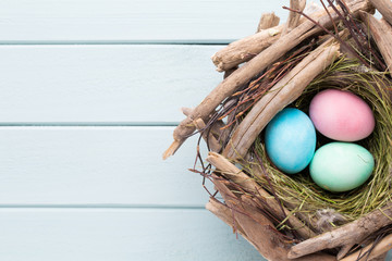 Pastel Easter eggs background. Spring greating card.