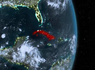 Night over Cuba on Earth