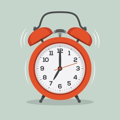 Ringing alarm clock flat illustration.