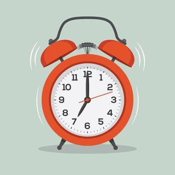 Ringing alarm clock flat illustration.