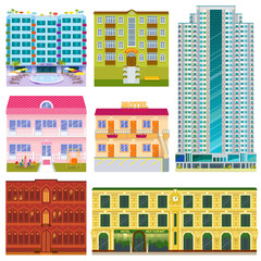 Different buildings hotels facade tourist travelers vacation time apartment urban town vector illustration.