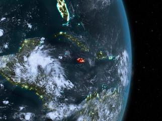 Night over Jamaica on Earth