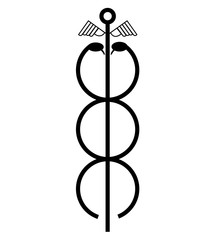 Caduceus rod, with two snakes entangled around it and wings