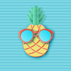 Cute paper pineapple in sunglasses on striped background. Summer vacation concept. Pastel colors. Modern paper art style