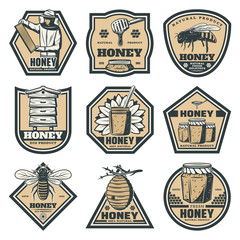 Set of vintage honey emblems, labels, badges, logotypes and design elements. Apiary logo template
