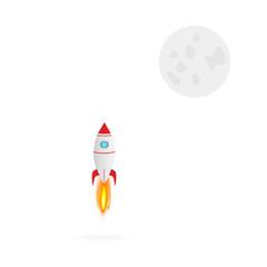 Rocket and Moon Illustration