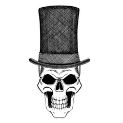 Imposing a skull in cylinder hat in the style of steampunk. T-shirt print, emblem, poster design.