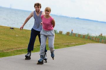 Cheerful couple enjoying ride together.