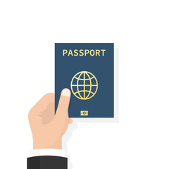 Wall Mural - Passport in hand. Man holds in his hand the document. Personal identification. Passport for travel and business travels. Vector illustration, flat design style isolated on white background.