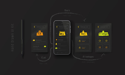 Mobile phone with web application. Hand-drawn UX, UI kit. User experience. User interface. Mobile App Design on a black background