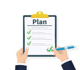 Wall Mural - Planning clipboard. Business tactic. Clipboard with checklist and pencil. Plan to achieve goal. Flat design, vector illustration on background.