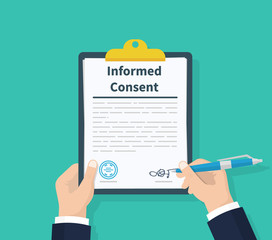 Man hold information consent. Human signs document. Business or medical agreement. Clipboard in hand. Flat design, vector illustration on background.