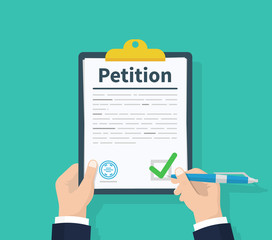 Wall Mural - Petition concept. Man hold clipboard in hand writes Petition concept. Diagrams. Flat design, vector illustration on background.