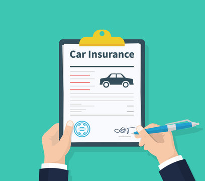 Man signs a legal document auto insurance. Claim form. Car protection property. Car insurance form. Vector illustration flat design on background.