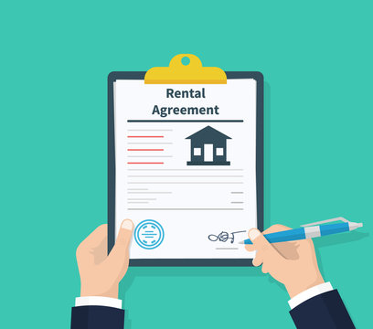 Man hold Rental agreement form contract. Clipboard in hand. Signing document. Flat design, vector illustration on background.
