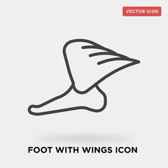 foot with wings icon on grey background, in black, vector icon illustration