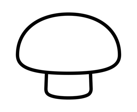 Agaricus bisporus edible common button mushroom or toadstool line art vector icon for food apps and websites
