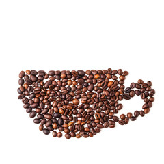 Coffee cup image made up of coffee beans on a white background