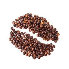 Coffee bean image made up of coffee beans on a white background