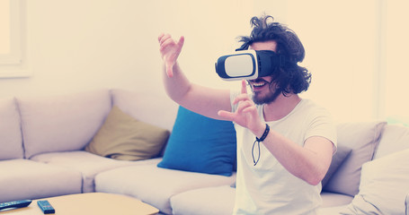 man using VR-headset glasses of virtual reality