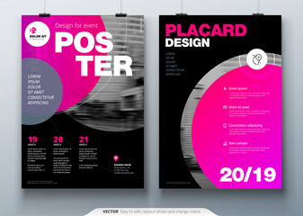 Poster template layout design. Business poster, placard background mockup in bright colors. Vector illustration with pink magenta gradient circle
