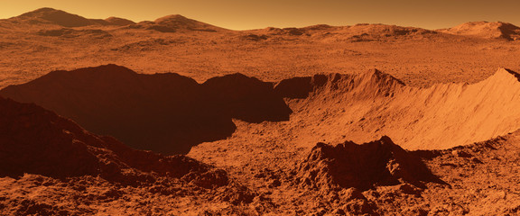 Mars - red planet - landscape with huge crater from impact and mountains in the distance