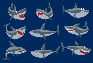 Vector funny cartoon shark fish swimming imal sea isolated shark character underwater cute marine wildlife mascot. Scary smile cool evil monster shark character funny predator