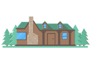 Grunge wooden cabin building vector. Isolated flat village house on white background
