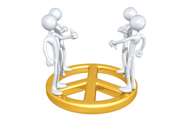 Peace Talks A Group Of The Original 3D Character Illustration On A Peace Symbol