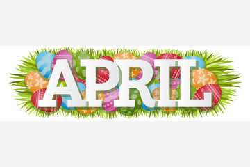 April Single Word Easter Eggs Banner Vector Illustration 1