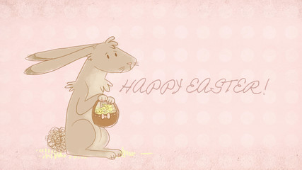 easter greeting card with cute bunny illustration