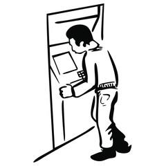 Człowiek przy bankomacie