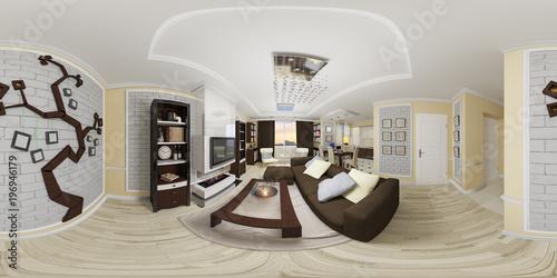 Sensational 3D Illustration Spherical 360 Degrees Seamless Panorama Of Interior Design Ideas Clesiryabchikinfo