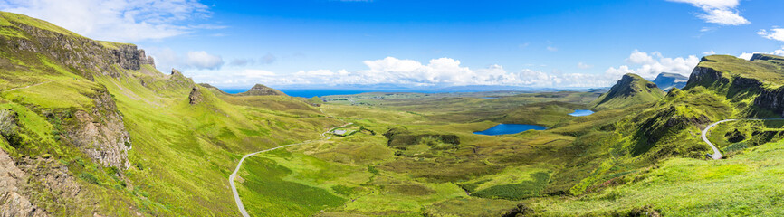 Wide panorama of Quiraing, one of the most famous landscape of Isle of Skye, Scotland, Britain