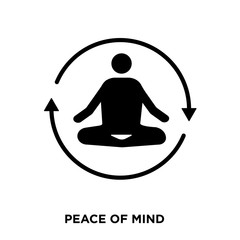 peace of mind icon on white background, in black, vector icon illustration