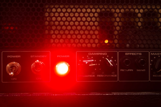 tube guitar amplifier lights and control panel