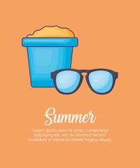 Infographic of summer concept with sunglasses and bucket of sand over orange background, colorful design vector illustration