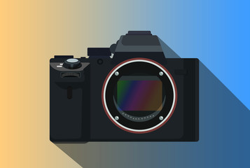 a mirrorless camera isolated with long shadow body only without lens vector graphic illustration